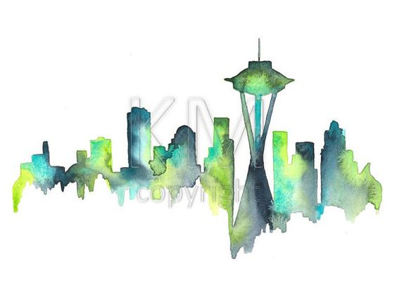 seattle skyline watercolor print of original art piece blue and green home decor and wall
