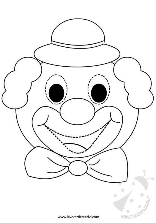 Maschera Pagliaccio Da Colorare Jpg 518 740 Carnevale