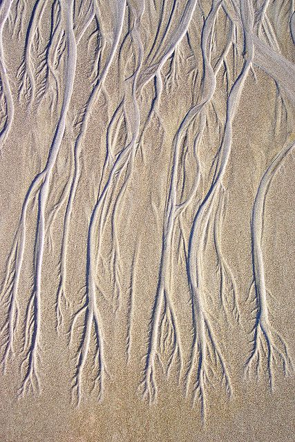 Interesting pattern in the sand formed as the waves retreat on a beach in Costa Rica: