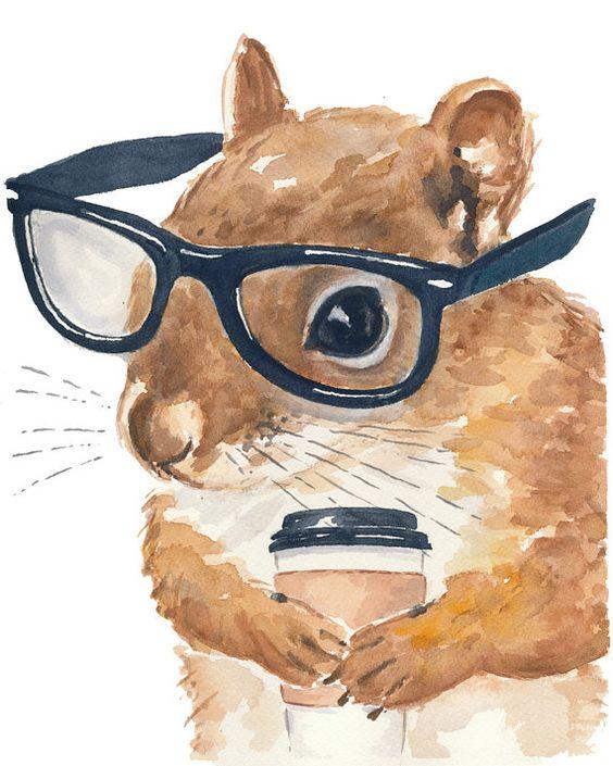 Squirrel Watercolor Original Painting  ardilla con lentes me encanta
