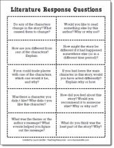 Literature Response Question Cards and other Literature Circle printables from Laura Candler