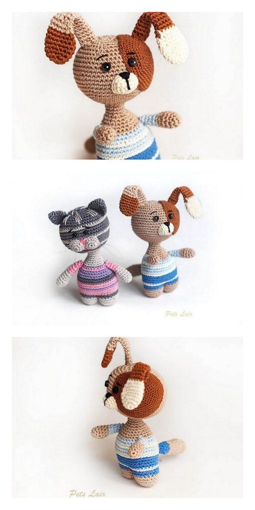 Ravelry: Mini Pets - Tiny Cat and Dog Amigurumi pattern by Lucy Collin | 1024x512