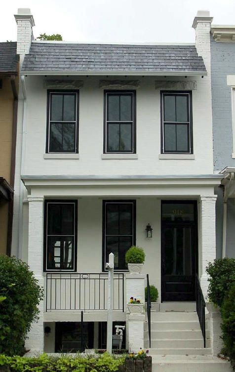 Home renovation house and composition on pinterest for Row house exterior design ideas