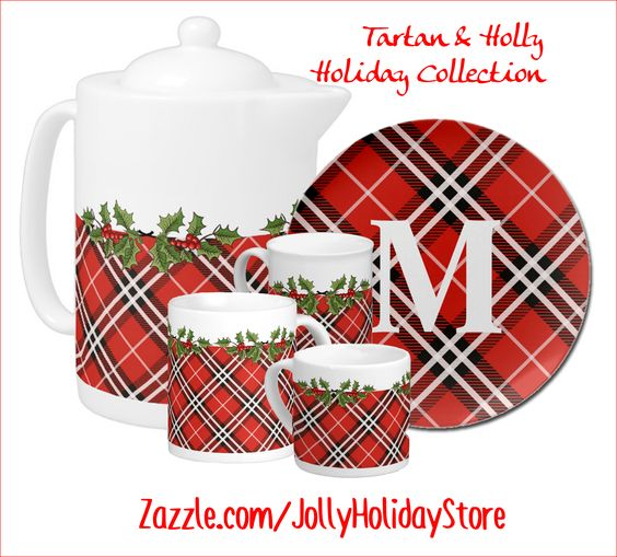 My Tartan & Holly Holiday Tableware Collection - this is just a few items in the collection - we've even got Holiday leggings!