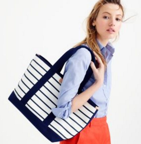 Navy and White Strip Beach Tote