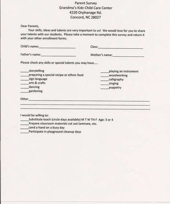 parent survey forms printable preK   Preschool   Daycare   Child ...