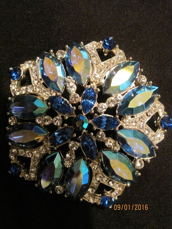 Massive Signed EISENBERG ICE Octagon Blue & Clear Stones Brooch Pin NEVER WORN   #Eisenberg