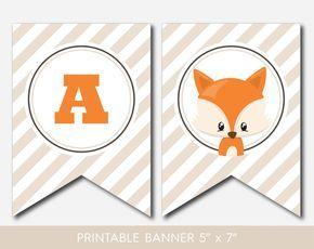 Woodland bébé forêt animaux Fox Personnalisé Baby Shower Bunting Bannière
