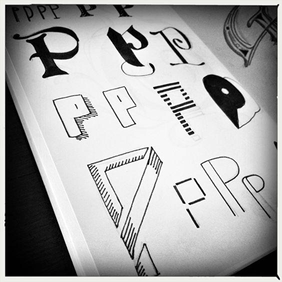 P, kleine letters, handlettering