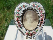 Heart shaped Micromosaic frame depicting rose flowers and foliage