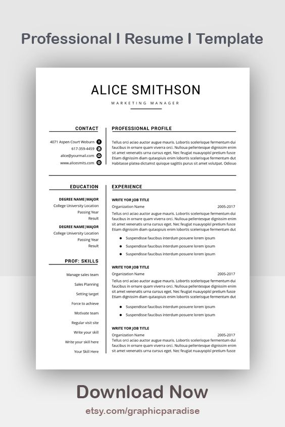 Resume Template Professional Resume Template Instant Etsy Resume Template Professional Resume Template Word Resume Template