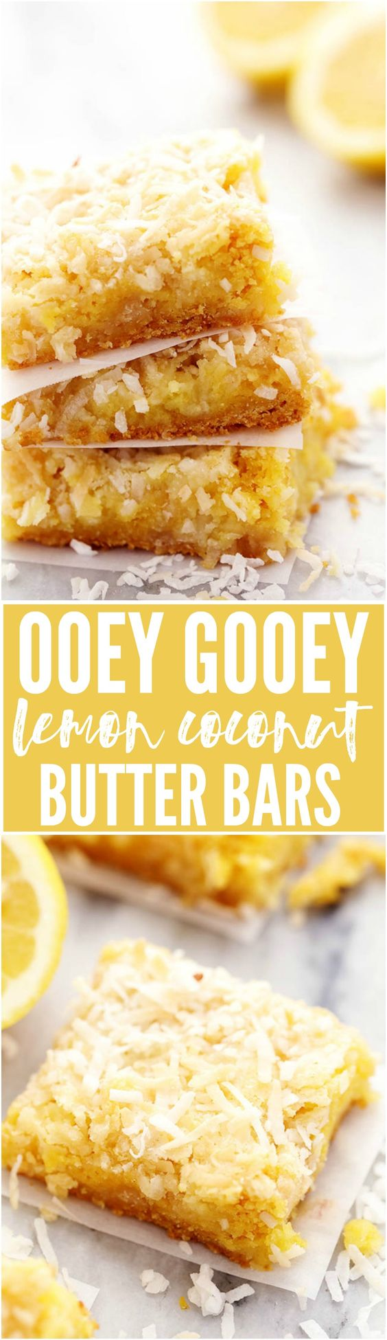 These bars are ooey and gooey and have a delicious lemon flavor! They are topped with a brown sugar butter coconut topping and are seriously AMAZING!