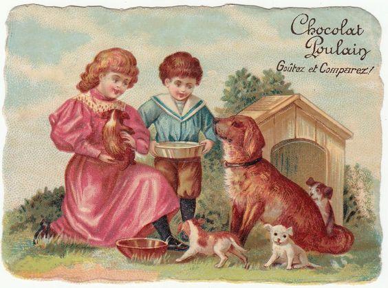 Oblaten Glanzbild  scrap die cut chromo / Kinder mit Hunden