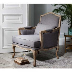 Hathaway Grey Linen Chair by The French Bedroom Company. Luxurious, comfortable and elegant.