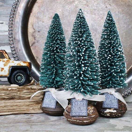 Add a little Farmhouse Charm to your Holiday Decor!! Vintage rusty Door Knobs with Bottle Brush Trees HoggBarnAntiques