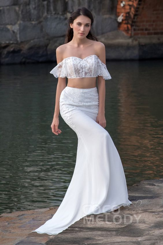 Crop top Sweep-Brush Train Tulle and Chiffon Wedding Dress