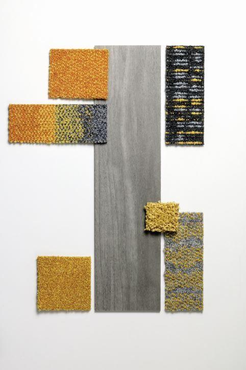 Grey Studio Set With Yellow Accents Interiordesign Colourpalette Interfacelvt Modularcarpet Carpet Decoration Luxury Vinyl Tile Hallway Carpet Runners