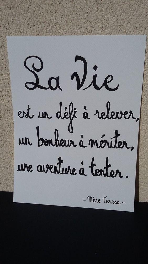 """affiche citation """"la vie par mère teresa"""""""