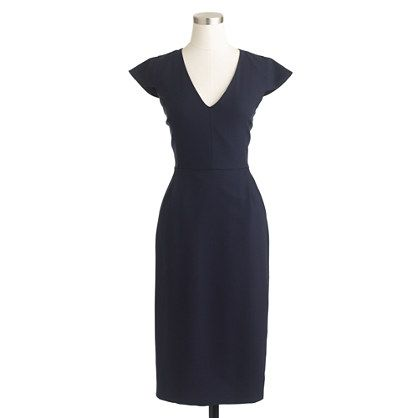 I love this.  I love navy, and the cap-sleeve would be perfect for balancing out hips.  Cap-sleeve dress in Italian wool crepe