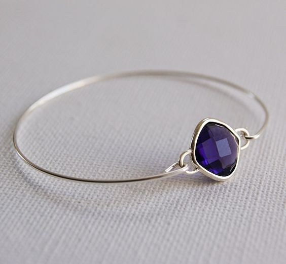 Sterling Silver Bangle Jewelry. Amethyst Color Cubic by Wearabol, $19.00