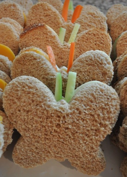 Kids' Butterfly Party Food Ideas: I'm ordering a butterfly cutter right now. GREAT idea!