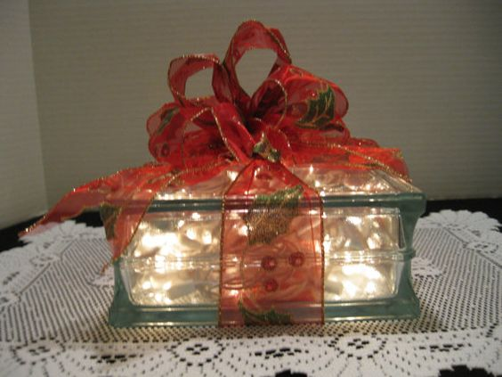 Red & Green Holly Ribbon on clear glass block by Originalsbysuej, $20.00