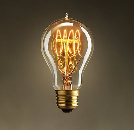 Exposition Quad-Loop Filament Bulb from Restoration Hardware.  Early lightbulb developers often used multiple filaments to create a brighter light. Our reproduction of one of the most popular carbon-filament styles – patented by Thomas Edison – uses a tungsten filament and possesses the glass-tip construction typical of early manufacturing.