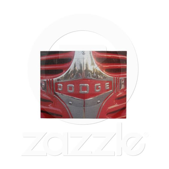 Red 1940 Dodge Pick-Up Truck Emblem on Grill Jigsaw Puzzle from Zazzle.com...