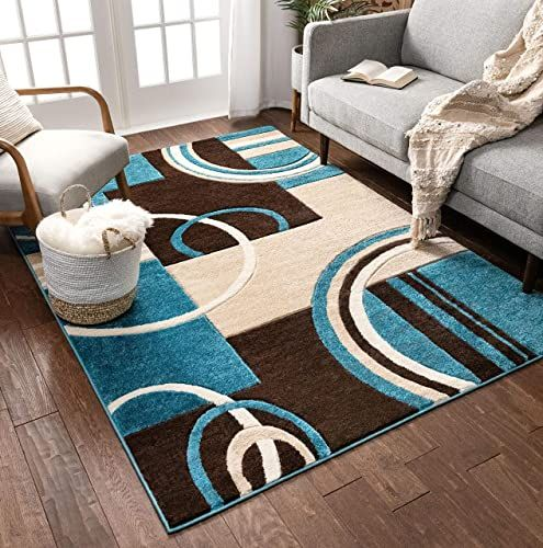 Buy Echo Shapes Circles Blue Brown Modern Geometric Comfy Casual Hand Carved Area Rug 5x7 5 3 X 7 3 Easy Clean Stain Fade Resistant Abstract Contemporary Th In 2020 With Images