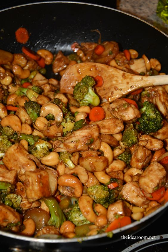Crock pot cashew chicken. Also directions to make as a stir-fry