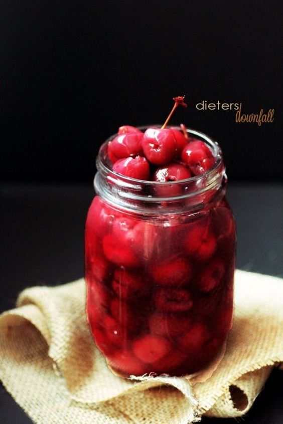 Homemade Maraschino Cherries. So much better then the bleached, artificial colored and flavored ones bought in little jars at the store. I must make these. Luckily, I have a cherry pitter!
