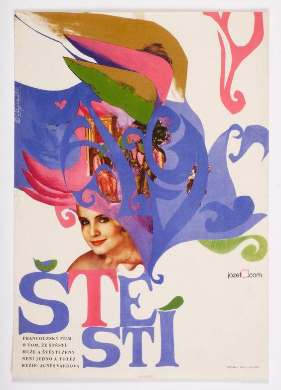 60s poster for Agnès Varda's movie Happiness. Poster design by Stanislav Vajce, 1966. #poster #AgnèsVarda #graphicdesign