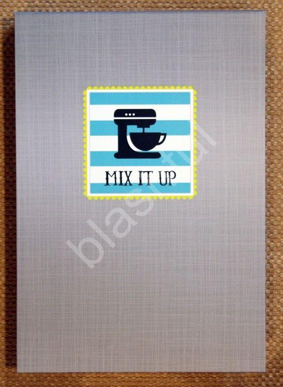 CR Gibson Gray Blue Striped KITCHEN GEAR Mixer Vertical Recipe Keeper Flip Stand #CRGibson