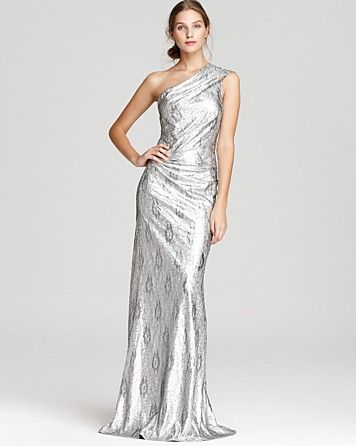 David Meister One Shoulder Dress - Metallic Sequin Lace ...