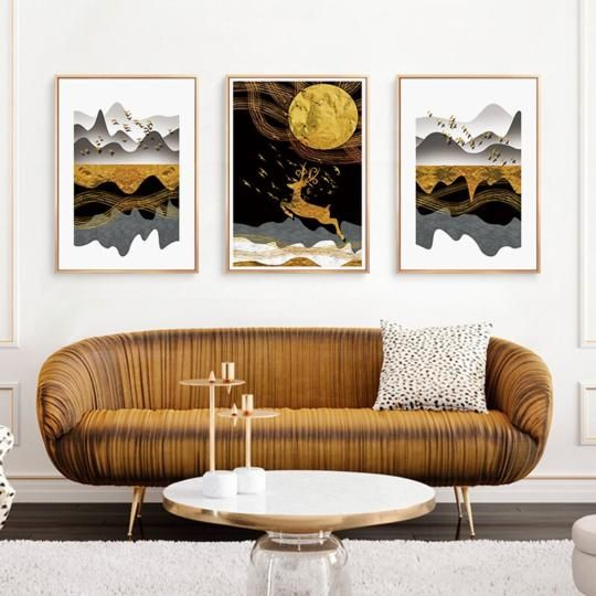 Nordic Tropical Gold Leaves Abstract Wall Art Posters Fine Art Canvas Prints For Modern Office Or In 2020 Modern Living Room Wall Rooms Home Decor Living Room Pictures