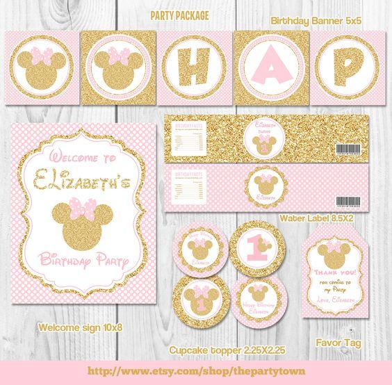 Rosa y minnie mouse cumplea os fiesta paquete de oro en for Decoracion de cumpleanos rosa y dorado