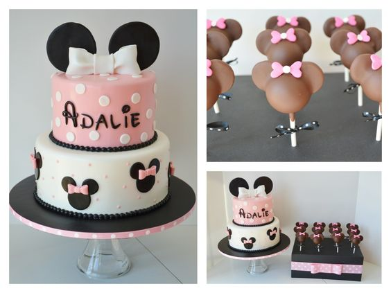 Minnie Birthday Cake and Cake Pops - This Minnie cake and cake pops were for a little girl turning 2 who loved Minnie!  Everything is edible.  TFL!