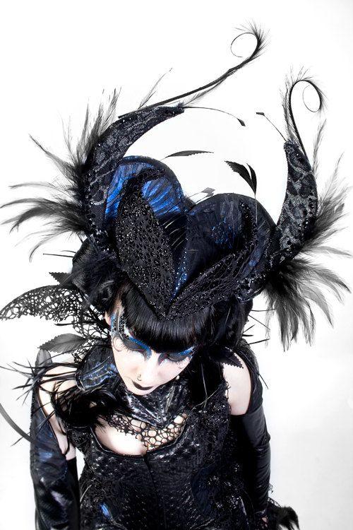 Black feather Swarovski Crystal headband/ by ImaginariumApparel, $450.00