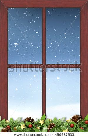window, christmas decoration and night snow nature background [blur and select focus]