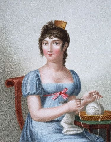 ca. 1819 --- Engraving of a woman knitting, published in Paris during the early 19th century.: