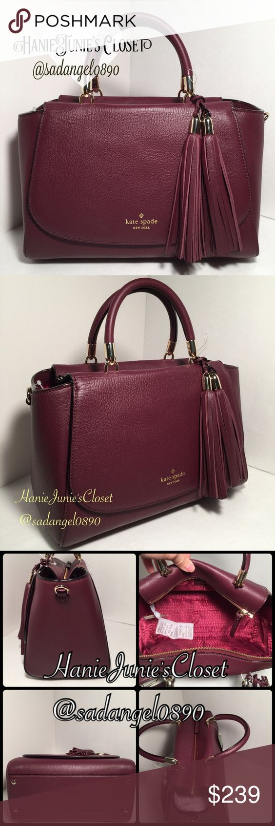 "KATE SPADE PLUM LONGACRE COURT SATCHEL Material: Leather Color: MulledWine  measurements: H 7 1/2, L 12"", D 6"" Gold tone hardware Top Zip closure and Flap with magnetic snap closure Short double 3 1/2 inches drop. Removable long strap 16"" Hanging double leather tassels. Front flap has a covered slip pocket Lower front flap has the Kate Spade logo printed on gold tone color. Inside is finished with Kate Spade signature lining, a zip pocket and 2 slip pockets. There are 4 protective feet…"