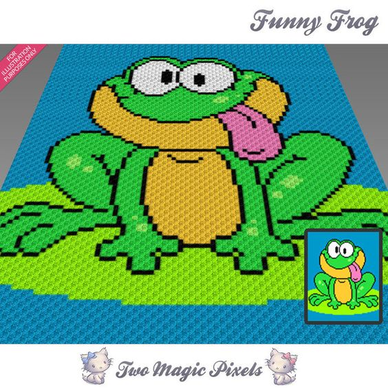 Funny Knitting Patterns : Funny frog crochet blanket pattern knitting cross stitch