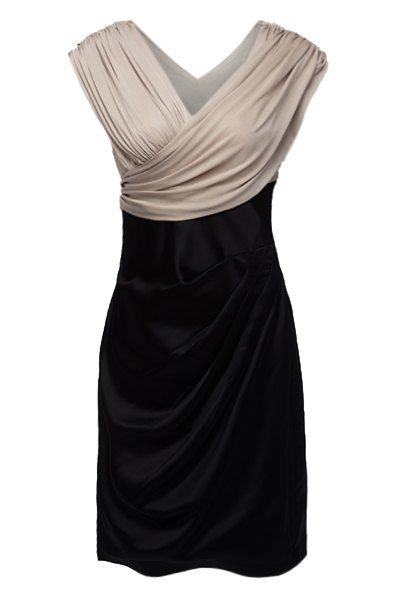 Vintage V-Neck Ruffled Criss-Cross Short Sleeves Women's Dress **Perfect for your company's holiday party!
