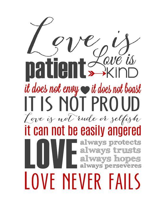1 Corinthians 13 Wedding Reading: Love Is Patient Subway Art Printable {1 Corinthians 13