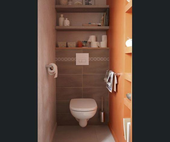 salle de bains wc brunmarron jauneorange sensea - Prise Pour Salle De Bain Couleur Marron