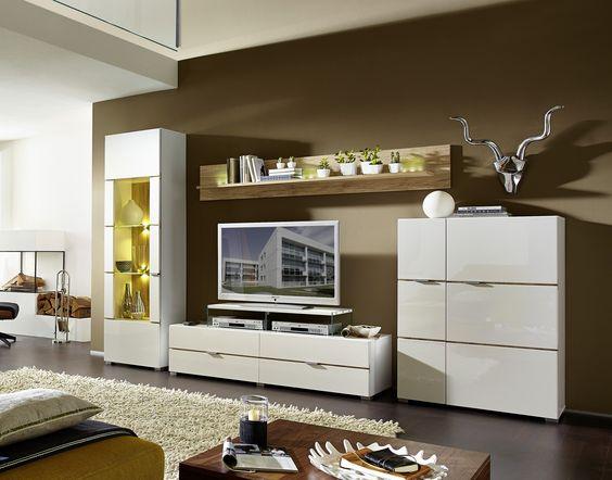 Wohnwand weiss hochglanz\/ weiss glänzend Woody 22-00634 OTHER - wohnwand wei modern