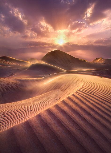 Ripples and Flames.  Empty Quarter,  bordering Oman, the UAE and Saudi Arabia.  by Marc Adamus.