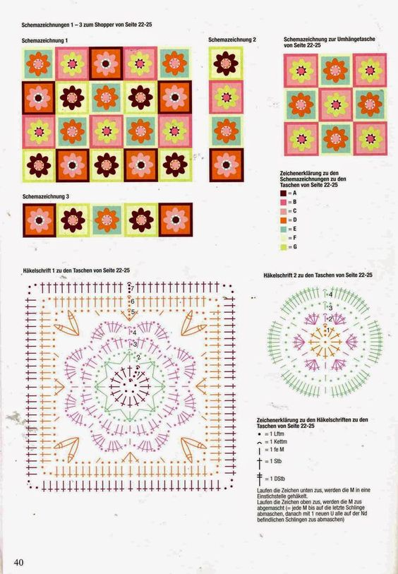 crochet square and circle charts