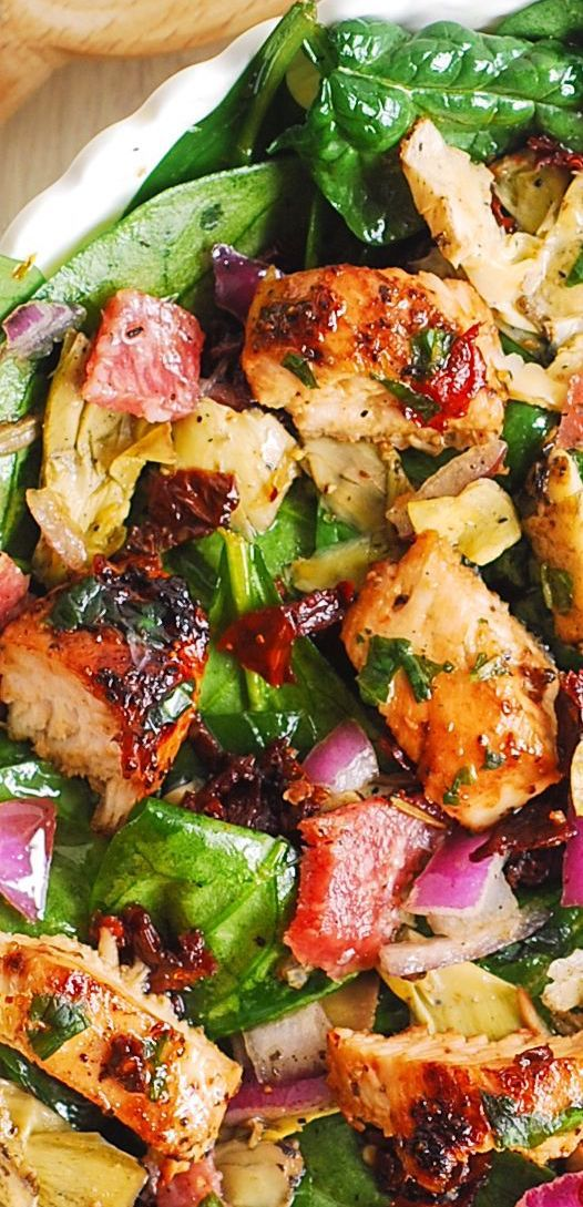 Italian Salad with Chicken, Spinach, Artichokes, Salami, Sun-Dried Tomatoes, Red Onions