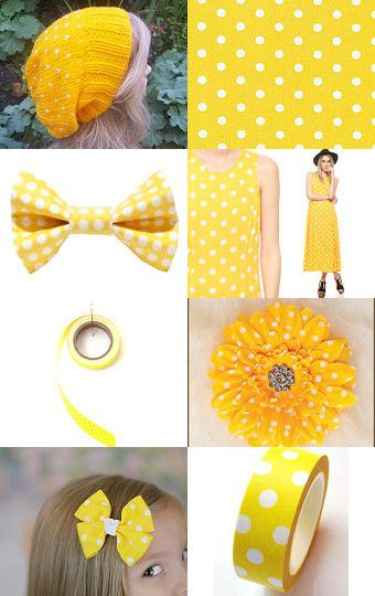 Yellow polka dots by Tronell Prinsloo on Etsy--Pinned with TreasuryPin.com